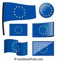 collection flags European Union - collection of different...
