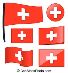 collection flags Switzerland - collection of different swung...