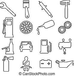 Collection flat icons. Car symbols. Vector illustration.