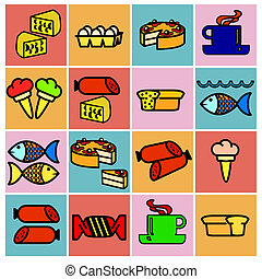 Collection flat icons. Food symbols. Vector illustration.