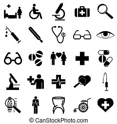 Collection flat icons. Medicine symbols. Vector illustration.