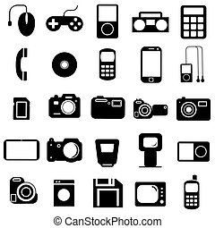 Collection flat icons. Multimedia symbols. Vector illustration.