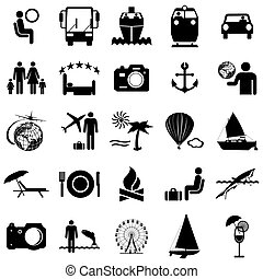 Collection flat icons. Travel symbols. Vector illustration.