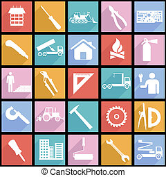 Collection flat icons with long shadow. Construction symbols. Vector illustration.