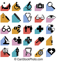 Collection flat icons with long shadow. Medicine symbols. Vector illustration.
