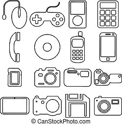 Collection flat icons with long shadow. Multimedia symbols. Vect