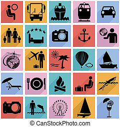 Collection flat icons with long shadow. Travel symbols. Vector illustration.