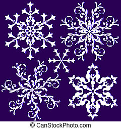 collection, flocon de neige, (vector), vendange