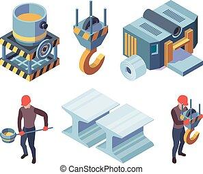 collection, fonderie fer, aciers, métallurgie, industriel, acier, production, métallique, usine, vecteur, isometric.