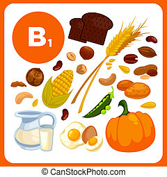 Collection food with vitamin B1. Isolated illustration - ...