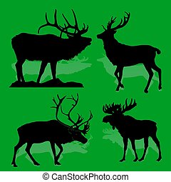 Collection Forest animals (mammals) Deer and moose, on a green background,