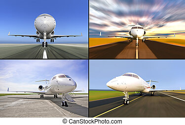 Collection four luxury private Jets landed or during taking off