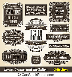 collection., frame, calligraphic, uitnodiging, hoek, element, grens