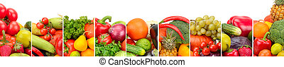 Collection fresh fruits and vegetables isolated on white background. Wide photo with free space for text.