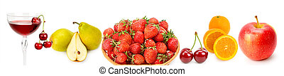 Collection fresh Fruits isolated on white . Panoramic collage. Wide photo with free space for text.