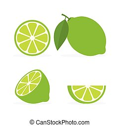 Collection fresh whole, half and slice lime with green leaf