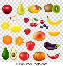 collection, fruit frais, transparent, fond