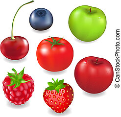 Collection Fruits And Berries, Isolated On White Background,...