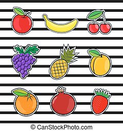 Collection fruits icons in a flat style of pop art