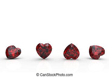 Collection garnet shape of heart