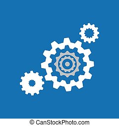 collection gear cooperation team design blue background vector illustration