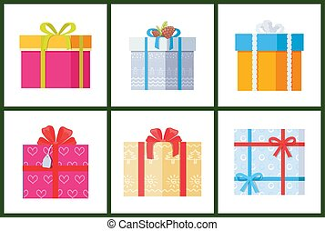 Collection Gift Box Presents Wrapped Packages Icon