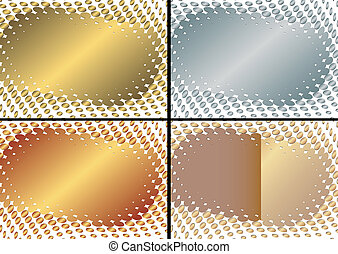 Collection golden, silvery and frame (vector)