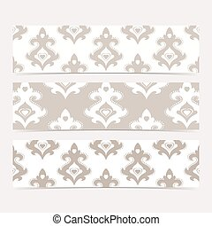 Collection gorizontal banners in the style of Baroque . Modern Vector Illustration