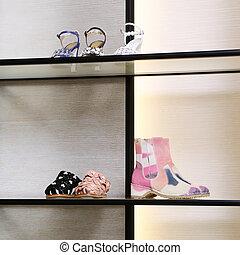 collection., grande, brillante, lujo, nuevo, tienda, zapato