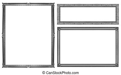 collection gray frame isolated on white background, clipping path