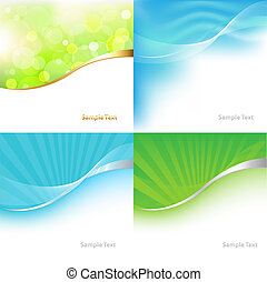 4 Green And Blue Tones Background, Vector Illustration