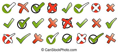 collection green check marks and red crosses