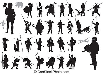 collection., guerreros, vector