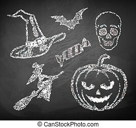 collection., halloween, chalked