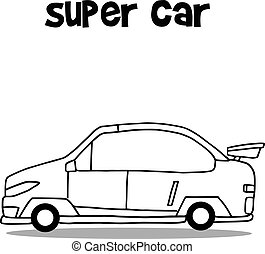 Collection hand draw super car vector art