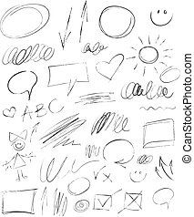Collection hand-drawn pencil elements
