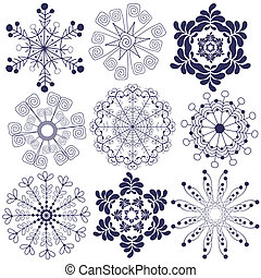 Collection handwork of snowflakes