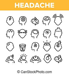 Collection Headache Elements Icons Set Vector