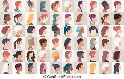 collection, headshot.different, filles, américain, caucasien, diversité, ensemble, femmes, -, arabe, femme, portrait, nationalités, multiethnic, isolated.asian, groupe, avatar, people.profile, africaine