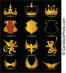 Collection heraldic gold elements on black . Vector
