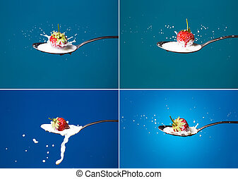Collection. High-speed photo of strawberries falling into...
