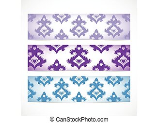 Collection horizontal banners in the style of Baroque . Modern Vector Illustration