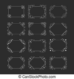 Collection horizontal floral vintage frame on black background.