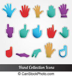 collection, icône, vecteur, main humaine