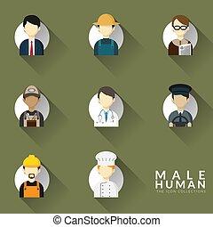 collection, icônes, différent, set., illustration, occupation, icône, homme, design., professions, plat, vecteur