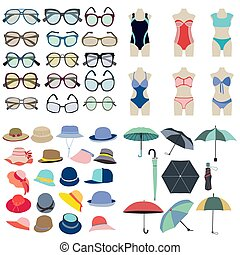 Collection icon of summer fashion accessories in flat style