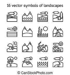 collection., icone, paesaggio, symdols, natura