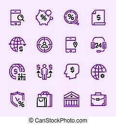 Collection icons, of money, banking services.