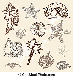 collection., illustration, main, vecteur, mer, dessiné
