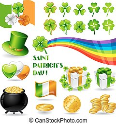 Collection illustrations of Saint Patrick's Day symbols.
